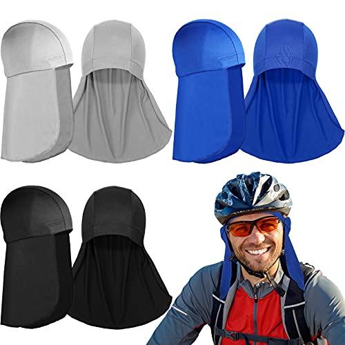 3 Forros de Casco con Protector de Cuello, Gorro de Calavera de Enfriamiento Gorra Absorbente de Sudor con Cola Sombrero de Protección de Sol para Cuello de Ciclismo para Correr, 3 Colores