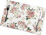 LLDKA Set di 6 Set da tavola per Rosa Tavolo da Pranzo Rosa Fiore doilyhells Lavabile per Cucina tappetini Antiscivolo