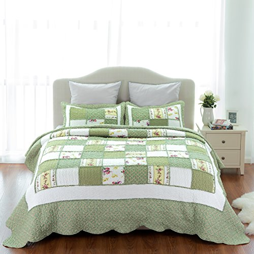 "Bedsure Printed Quilt Coverlet Set Bedspread Full/Queen(86""x96"") Green Ruffle Lightweight Hypoallergenic Microfiber"