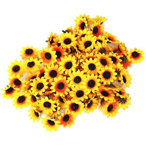 WINOMO 100pcs lebensechte künstliche Plastik Sonnenblume Köpfe Home Party Dekoration-Props (gelb)