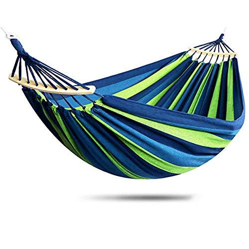 MeYuxg Hamaca de jardín portátil, doble hamaca 280 x 150 cm, carga máxima 280 kg, utilizada para césped de jardín, terraza, playa, bosque, camping, hammok, rayas azules y verdes