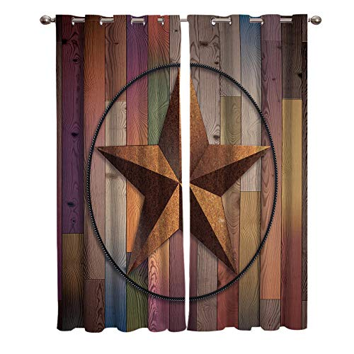 JNBGYAPS Blackout Curtains 3D Star pattern on wood grain printing Thermal Insulated Curtains Eyelet Super Soft Window Treatment for Bedroom Window Decoration parlor bathroom 2 x 29.5 x 65.3 Inch