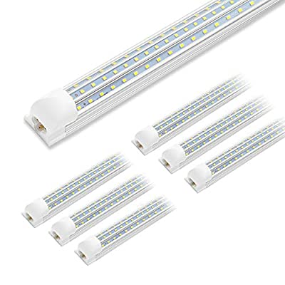 4FT LED Shop Light, 48W 6500K Cool White 6300LM Super Bright T8 Integrated Fixture D-Shape Triple Rows Linkable Tube Lights for Garage Warehouse Workshop Basement Plug and Play (6 Pack)