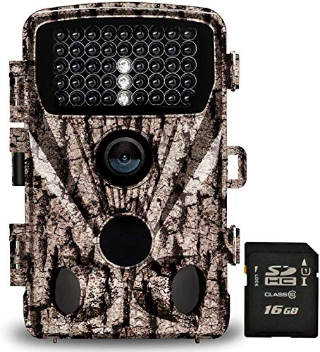 "Foxelli Trail Camera – 20MP 1080P HD Wildlife Scouting Hunting Camera with Motion Activated Night Vision, 120° Wide Angle Lens, 42 IR LEDs & 2.4"" LCD screen, IP66 Waterproof Game Camera, SD card incl."