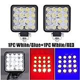 1 unids Flash Light Auto 48W 16LED Light Light IP67 Impermeable Red/Azul LED Strobe Light Flash Cuad...