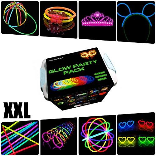 La Vida en Led Pack Fiesta XXL Glow Pulseras, Collares, Coronas, Gorras, Gafas, Pulseras triples, Orejas Conejo,...