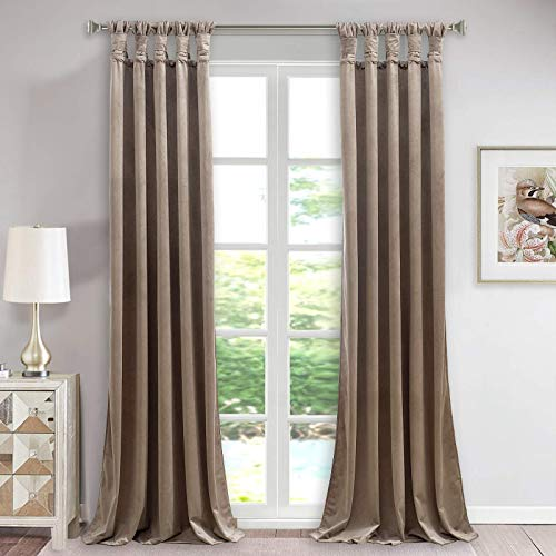 StangH Luxury Velvet Curtains Long - Thermal Insulated Curtains Gorgeous Twist Tab Design Blackout Velvet Drapes for Cottage / Parlor / Patio Door, Taupe, W52 x L108 inches, 2 Panels