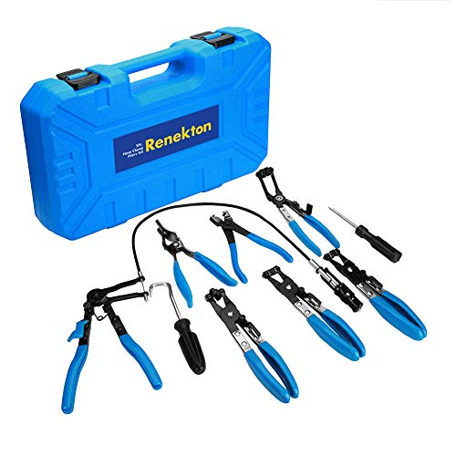 Renekton Hose Clamp Pliers Set, Flexible Wire Long Reach Hose Clamp Clic R Type Swivel Jaw and Flat Band Pliers for Fuel Oil and Water Hose Work, Automotive Hose Repair Tools Kit, 9 Pieces