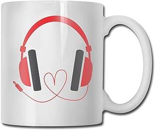 Xarchy tasse à café 11oz drôle tasse de jus de lait ou tasse de thé casque amour musique anniversaire