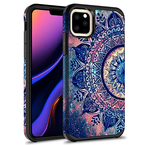 iPhone 11 Case, Rosebono Slim Hybrid Dual Layer Shockproof Hard Cover Graphic Fashion Cute Colorful Silicone Skin Cover Armor Case for iPhone 11 (Mandala)