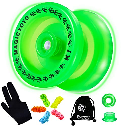 MAGICYOYO Responsive Yoyo K1-Plus Glow in The Dark, Durable Plastic Yoyo for Beginner Kids, Hubstack Basic Yoyo with Narrow C Ball Bearing and Extra 5 Yoyo Strings+ Glove+Yoyo Sack Gift (Glow Green)