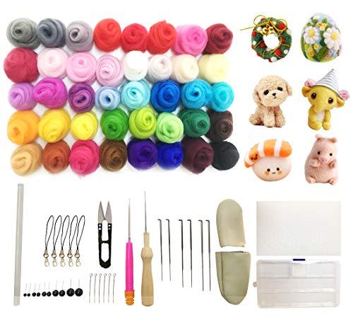 SOKLIT - Kit de fieltro con herramientas básicas de fieltro, 40 colores de lana de fieltro, herramientas de fieltro de lana y alfombrilla de espuma, para fieltrar fibra a mano