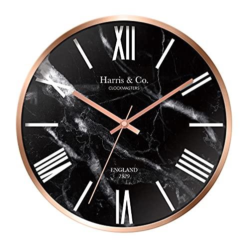 Harris & Co. Clockmasters Metal Wall Clock (12 inch, Black)
