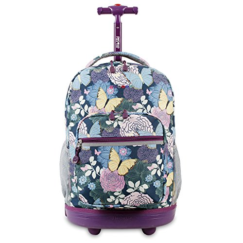 J World New York Sunrise Rolling Backpack, Secret Garden, 18""