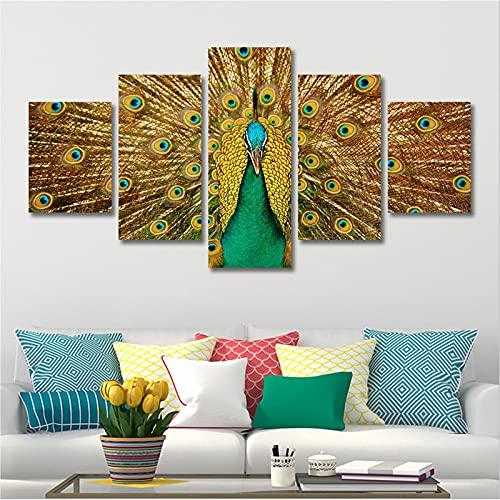lienzo decorativo para pared 5 piezas lienzo amarillo animal pavo real arte cartel lienzos impresiones arte decoración para el hogar para sala de estar Dormitorio Imagen enmarcada lista para c