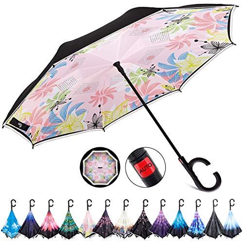 Hosa Doppelschichtiger umgekehrter Regenschirm mit C-förmigem Griff, winddicht, UV-Schutz, automatisches Öffnen, gerade, Sicherheitsreflektorstreifen für nächtliche Verwendung, blauer Himmel, bunt
