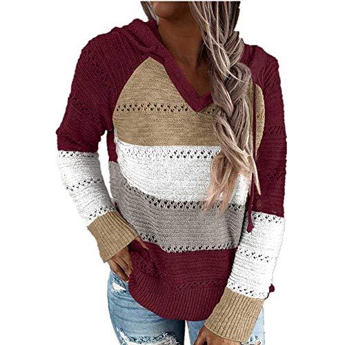 AORAEM Damen Kapuzenpullover Woolen Hoodies Sweater Langarmshirt Color Block Sweatshirt V Neck Pullover Tops Oberteile Weinrot L