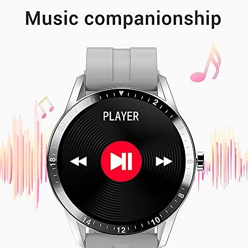 2021 SmartWatch Hombres Bluetooth Llamada Reloj Inteligente para Android iOS Dial Personalizado 1.28 Pulgadas 30 días de Espera de Largo (Color : Grey Silicone Strap)