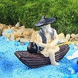 longsheng Acuario Paisaje Acuario Decoración Miniatura Resina Pesca Hombre Jardín Ornamento _1pc (Gris)