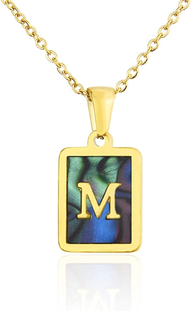 Amvie Gold Initial Necklaces for Women Girls Square Shell Dainty Letter Charm Fashion Necklaces Personalized Jewelry Gifts for Women Teenagers Best Friends