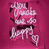 ネオンサイン 『you make me so happy』 ネオン 管 広告用 看板 NEON SIGN ギフト 省エネ 恋人 バー カフェ 喫茶店 クラブ 娯楽場所 インテリア 11*9インチ [ピンク]
