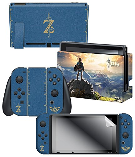 """Controller Gear Nintendo Switch Skin & Screen Protector Set, Officially Licensed By Nintendo - The Legend of Zelda Breath of the Wild """"The Legend of Zelda"""" - Nintendo Switch"""