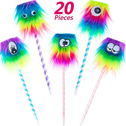 20 Pieces Rainbow Monster Pens Cute Monster Fluffy Pen for School Office Christmas Birthday Carnival Party Favor Supply