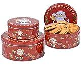 Set de 3 Latas de Galletas Rojo con Diseño Navideño y Merry Christmas Cajas Redondas de Metal Botes para Envasar Chocolates Decoración de Navidad