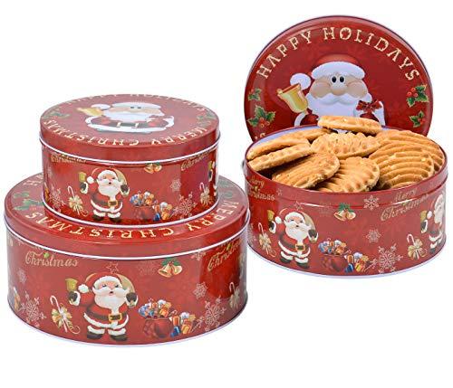 Alsino Set Di 3 Biscottiere In Latta Scatole Con Disegno Natalizio E Scritta Happy Holidays Per Confezionare Biscotti E Cioccolatini Di Natale Decorazione