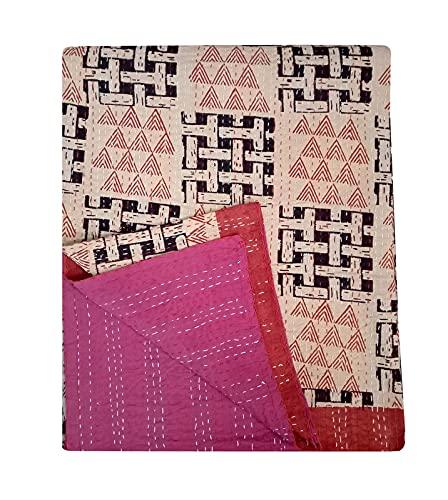 DN Handicraft Funda de cama estampada hecha a mano Inspiration Bagru Blush Manta - Edredón tamaño Queen Kantha