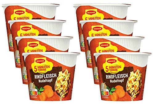 Maggi 5 Minuten Terrine Rindfleisch Nudeltopf, leckeres Fertiggericht, Instant-Nudeln mit Rindfleisch und Karotten, 8er Pack (8 x 42g)