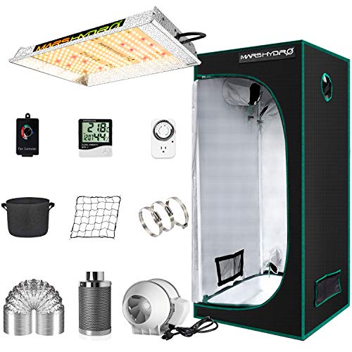 "MARS HYDRO Grow Tent Kit Complete TS600W LED Grow Light 2x2ft Full Spectrum Indoor Grow Tent Kit 24'x24'x55' Hydroponics Grow Tent 1680D Canvas with 4"" Ventilation Kit for Grow Setup Kit Grow House"