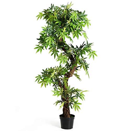 COSTWAY Planta Artificial 160 Centímetros Árbol Planta Verde Decoración Interior para Hogar Oficina