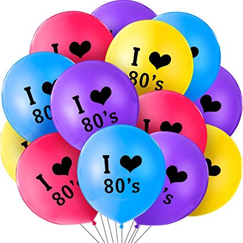 60 Piezas de Globos de Fiesta de 80s Globos de I Love 80s de 12 Pulfadas Colores Látex para Decoraciones de Fiesta Temáticas de Fiesta de Cumpleaños