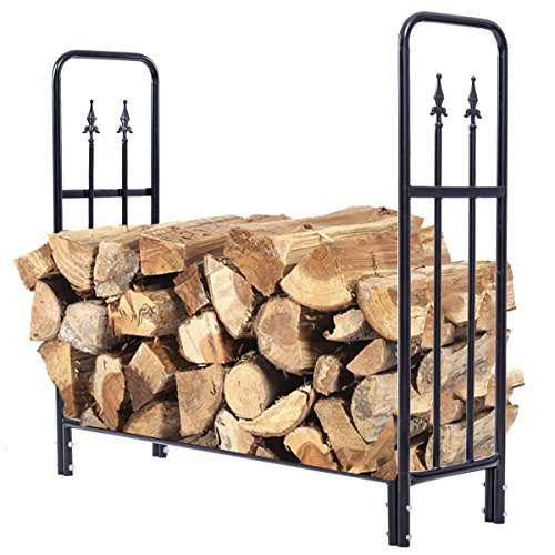 Check Out This trois_s 4 Feet Outdoor Heavy Duty Steel Firewood Log Rack Wood Storage Holder Black