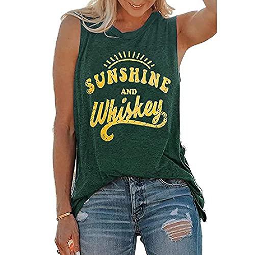 Chaleco de mujer Sunshine and Whiskey Print Loose Casual sin mangas cuello redondo camiseta de algodón