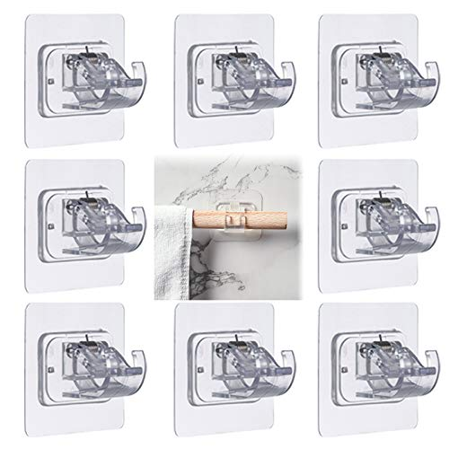 No Drill Curtain Rod Brackets, 8 Pcs Adhesive Curtain Rod Holder, No Nail Curtain Rod Brackets Free Perforated Transparent Curtain Fixing Bracket for Hanging Curtains, Towels, Bath Towels and Coats