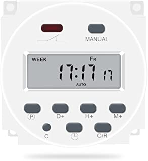 Enjoydeal 7 Day Heavy Duty Digital Programmable Timer, 12V DC/AC Digital Timer Switch with LCD Display for Cooking Baking Sports Games Office, Support 17 On/Off Programs Daily