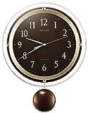 リズム(RHYTHM) 掛け時計 電波 アナログ 振り子 ソフレール クリスタル 飾り付き 連続秒針 茶 RHYTHM 8MX404SR06