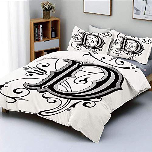 Set copripiumino, lettera iniziale da pergamene medievali, simbolo D maiuscola, stampa di design medievale Set di biancheria da letto decorativo in 3 pezzi con 2 fodere per cuscini, nero grigio bianco