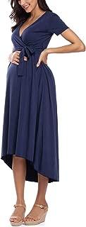 Women's Casual Floral Maxi Dress Waist Tie V Neck...