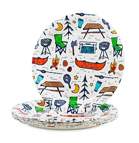 Camco 53376 Life is Better at the Campsite Paper Plates, 9-Inch -...