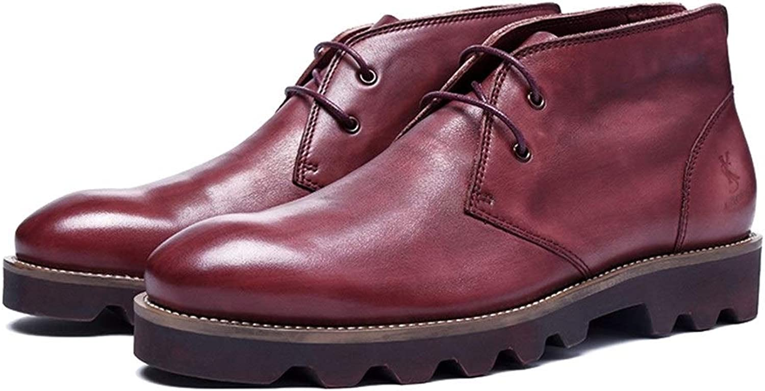 Handmade Casual Men's Boots top Layer Leather high to Help Men's Martin Boots Leather England Boots (color   Red, Size   7UK)