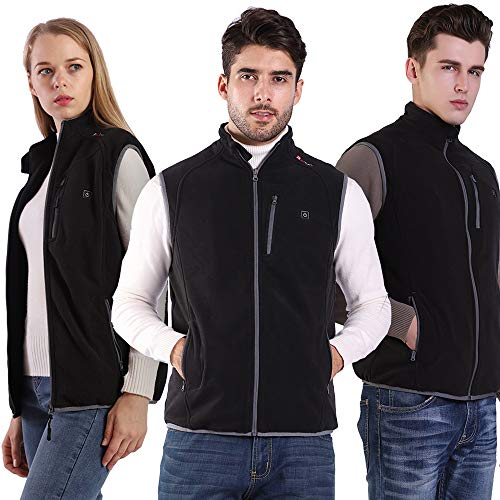 PROSmart Heated Vest Polar Fleece Lightweight Heated Gilet with USB Battery, Unisex (Black, S)