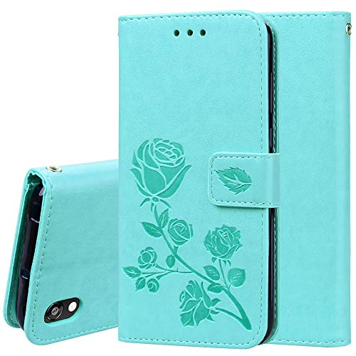 JIAHENG Phone Case Rose Embossed Horizontal Flip PU Leather Case for Huawei Honor 8S / Y5 (2019), with Holder & Card Slots & Wallet PU Leather Cover Shell (Color : Green)
