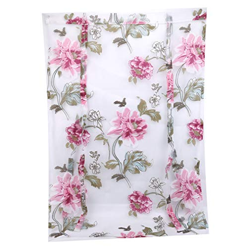 Weiy Roman Peony Flower Short Curtain Home Curtain Decoration Multiple Uses for Bedroom Living Room Kitchen,Purple
