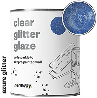 Hemway 1L Clear Glitter Paint Glaze for Pre-Painted Walls Acrylic, Latex, Emulsion, Ceiling, Wood, Varnish, Dead flat, Matte, Soft Sheen or Silk (CHOICE OF 25 GLITTER COLOURS)