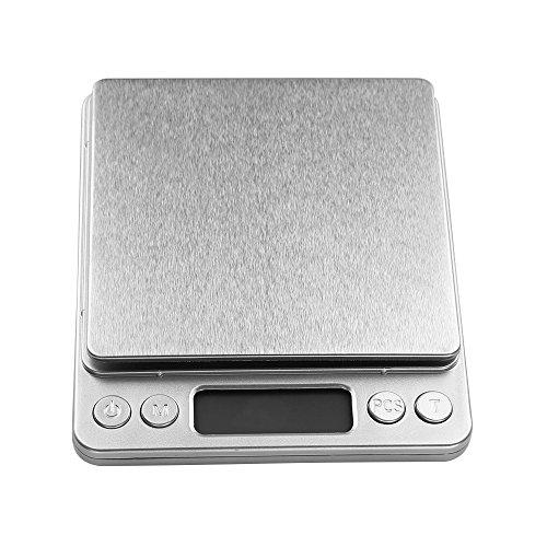 Uten Básculas de Alta Precisión para,Smart Weigh Bascula de Cocina y Comida y Joyería con Plataforma en Acero Inoxidable,con Bandejas,4 Unidades para Convertir,Precisión 3000g/0.1g-Color Plata