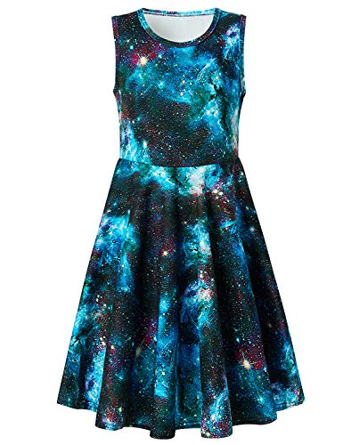 uideazone Girls Blue Galaxy Summer Sleeveless Tank Dress for Casual School Beach Holiday