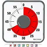 Secura 60-Minute Visual Countdown Timer, 7.5-Inch Oversize Classroom Visual Timer for Kids and Adults, Durable Mechanical Kitchen Timer Clock with Magnetic Backing (Dark Gray)
